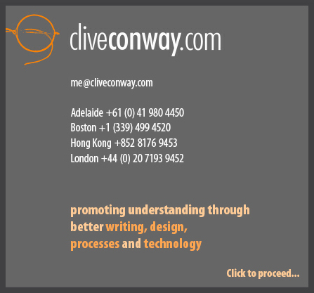 cliveconway.com. Promoting understanding through better writing, design, processes and technology